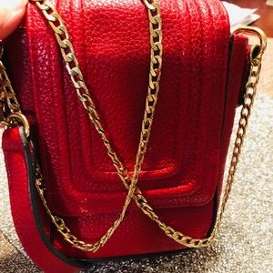 Sam & libby Red purse  crossbody with  gold chain